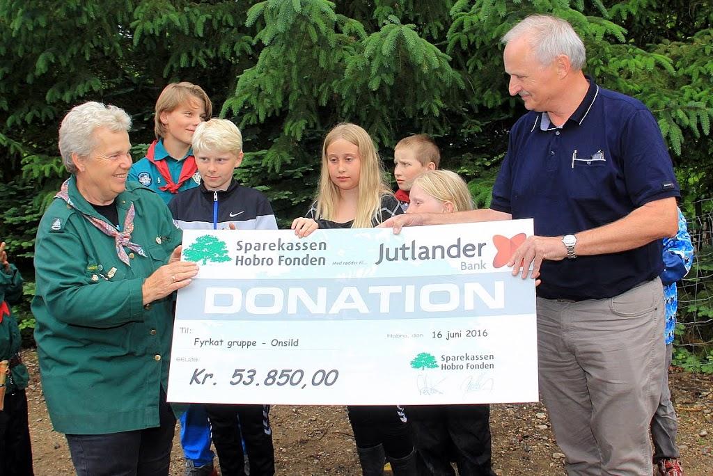 donation til spejdergruppe Fyrkat i Onsild – juni 2016